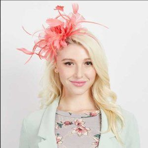 HEADBAND  FLOWER FASCINATOR HAT CORAL